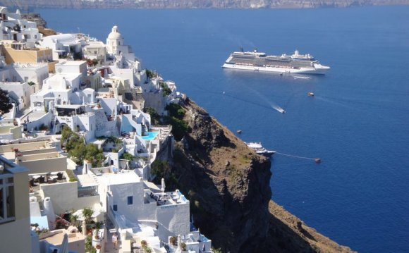 Cruise ship in Santorini