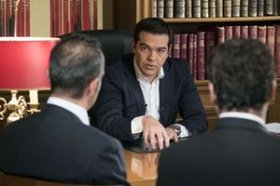 A handout photo made available by the Prime Minister's office shows Greece's Prime Minister Alexis Tsipras during his interview for ERT state television on July 14, 2015.