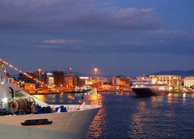 The Greek port of Piraeus at evening time